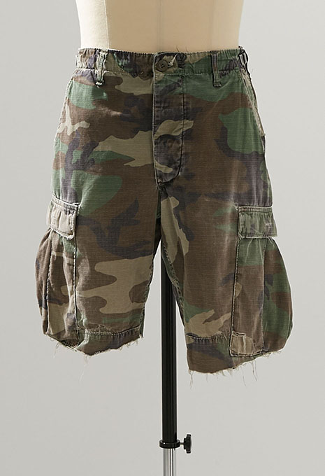 USED US ARMYWOOLAND CAMO CHOP OFF BDU SHORTS