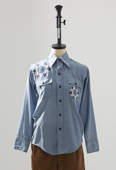 USED LEVIS AMERICAN QUILT PATCH BOYS LS CHAMBRAY SHIRTS