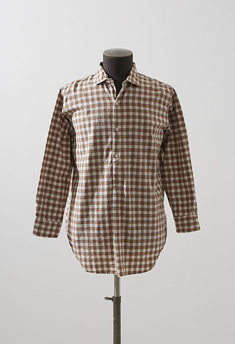 VINTAGE BROWN PLAID PULLOVER SHIRT